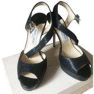 Jimmy Choo High Heel Sandals Shiny Black