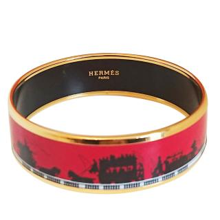 Hermes wide enamel bangle horse and carriage