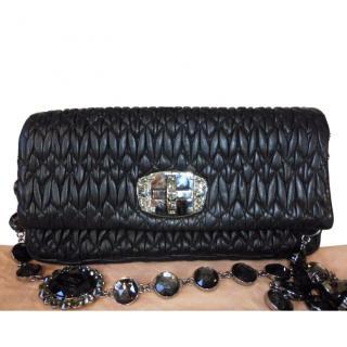 Miu Miu  Crystal Chain Leather Shoulder Bag