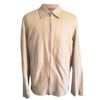 Hugo Boss Cream Goat Leather Blouson Jacket
