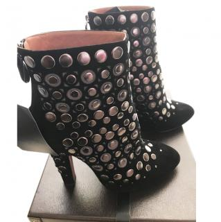 Azzedine Alaia Black Suede Studded Boots