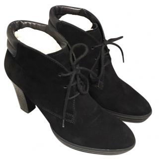 HOGAN Black Laced Leather and Suede Ankle Boots