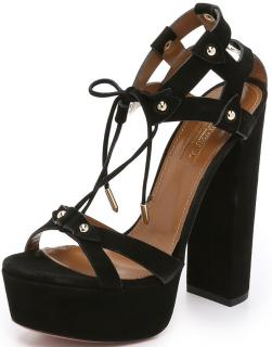 Aquazzura Black Suede Bel Air Platforms