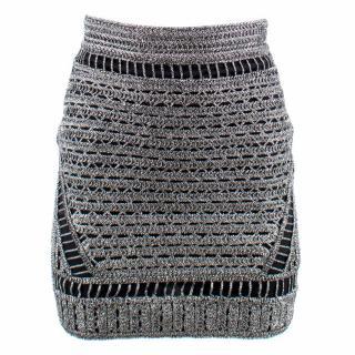 Maje Jazzon metallic-knit skirt
