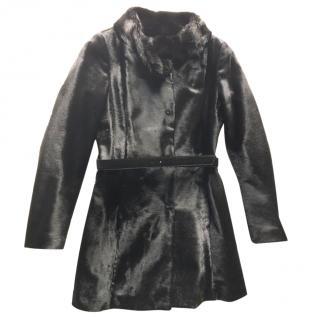FRATELLI ROSSETTI black pony hair leather coat