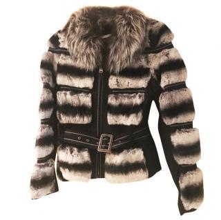 Chinchilla Rex Fur Jacket with metallic lambskin