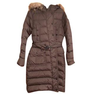 Moncler long brown coat with fur trim hood