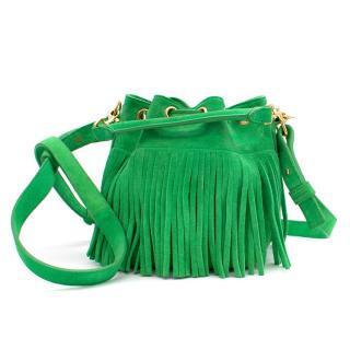 Saint Laurent green suede small Emmanuelle fringed bucket bag