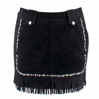 Maje Jacob Black Fringed Studded Leather Mini Skirt