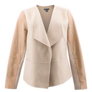 Vince Leather Sleeve Asymmetric Wool Jacket
