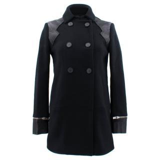 Maje Black Leather Panel Coat