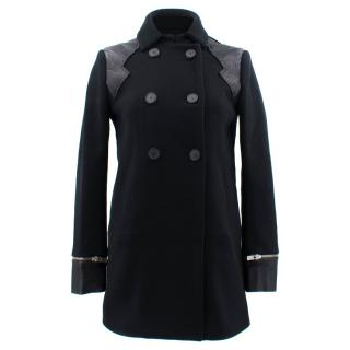 Maje Black Leather Panel Coat