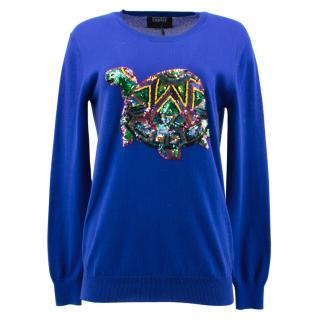 Markus Lupfer Blue Jumper with Turtle Sequin