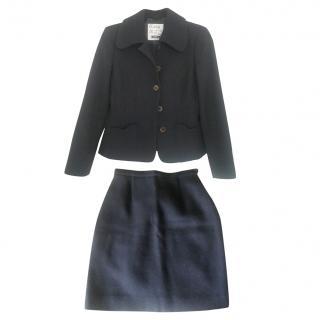 Moschino Cheap and Chic Dark blue Woolen Skirt Suit