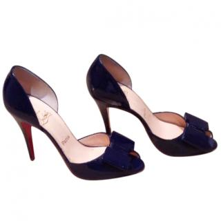 Christian Louboutin peep toe patent court shoe