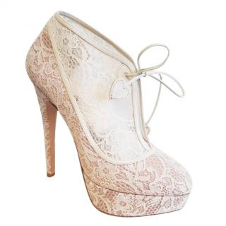 Charlotte Olympia Minerva Lace Bridal Ankle Boots