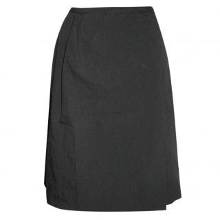 Paule Ka black A-line skirt with side pleat