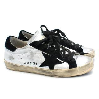 Golden Goose Silver and Black Trainers