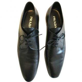Prada mens black leather shoes