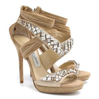 Jimmy Choo Beige with Crystal Heels