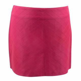 Alice and Olivia Pink Leather Mini Skirt