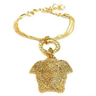 VERSACE Palazzo Medusa Swarovski Crystals Gold Plated Bracelet