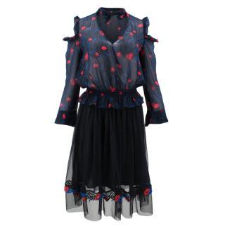 Pinko Black Lips Pattern Skirt and Top