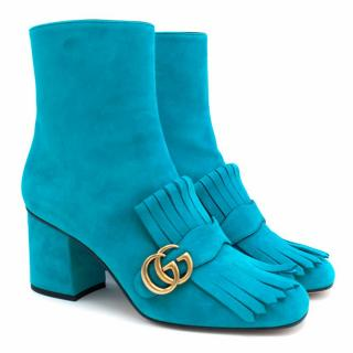 Gucci Turquoise Suede Ankle Boots
