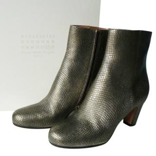 Maison lMartin Margiela lizard effect gold ankle boots