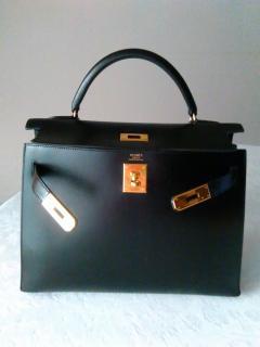 Hermes Kelly  Sellier  32 Black Box Leather