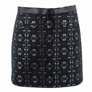 Maje Black and Silver Patterned Mini Skirt