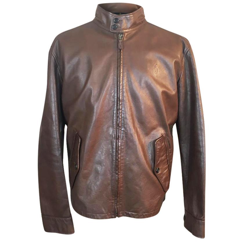 7d8db63c5578 Polo Ralph Lauren Leather Ashburn Brown Barracuda Harrington Jacket ...