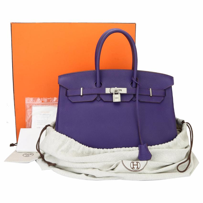 e0d57af577 Hermes Birkin 35cm 9k Iris Togo Leather With Brushed Palladium Hw ...