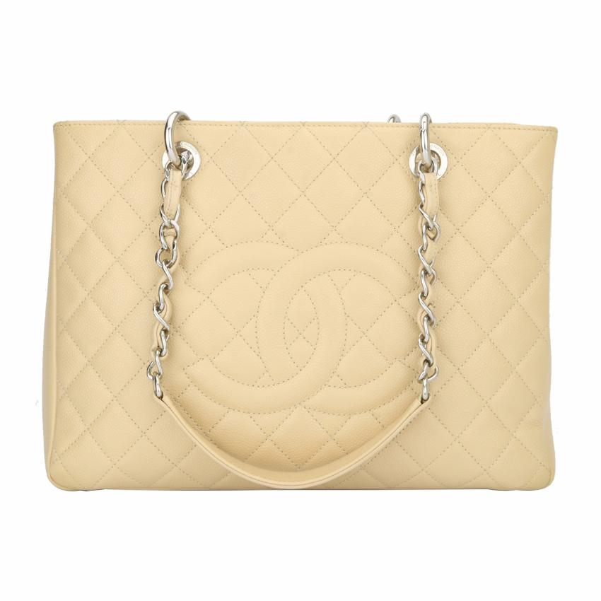 06830477cabf Chanel Grand Shopping Tote Gst Beige Caviar Silver Hardware | HEWI London