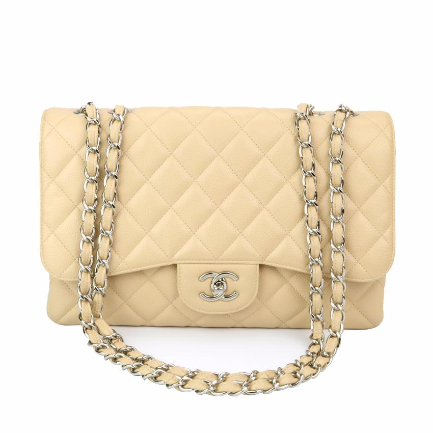 a4182cf3c8b645 Chanel Classic Single Flap Jumbo Beige Clair Caviar Silver Hardwa | HEWI  London
