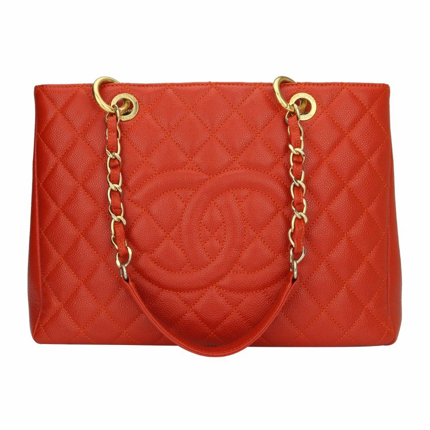 6e20d89ccc2328 Chanel Grand Shopping Tote Gst Orange Caviar Gold Hardware | HEWI London