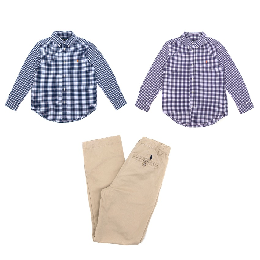 Ralph Lauren Set of Checked Shirts and Beige Trousers