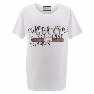 Gucci White Cotton T-Shirt With Gucci Logo