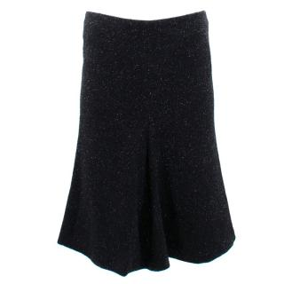 Alexander Mcqueen Black Sparkly Tweed Skirt
