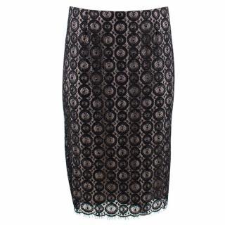 Diane Von Furstenberg Black Misty Beaded Pencil Skirt