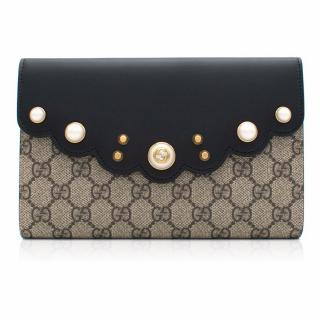Gucci GG Supreme Monogram Pearl Studded Clutch