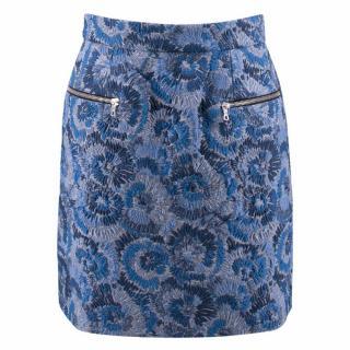 Markus Lupfer Blue Floral Silk Jacquard Skirt