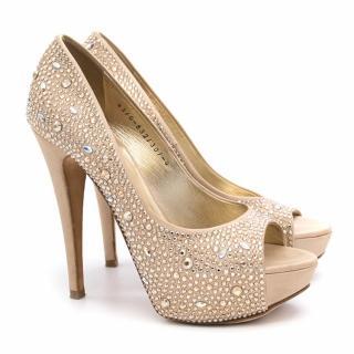 Gina Clio Gold Platform Peep Toe Heels