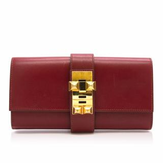 Hermes Sanguine Red Permabrass Medor Clutch