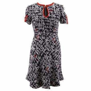 Kate Spade Silk Handwriting Print Dress