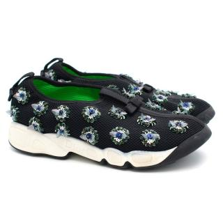 Dior Blue Embroidered Slip On Sneakers