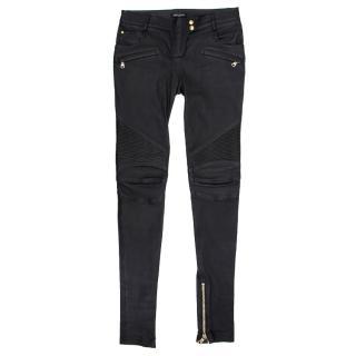 Balmain Black Leather Skinny Pants