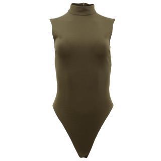David Koma Green High Neck Bodysuit