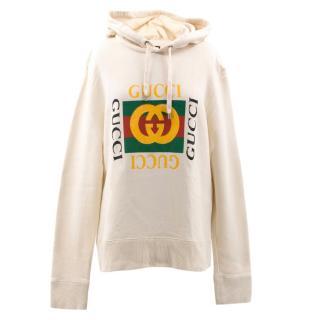 Gucci Cream Gucci Logo Sweatshirt