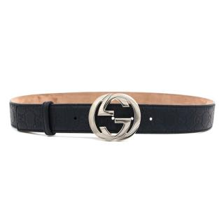 Gucci Blue Logo Belt